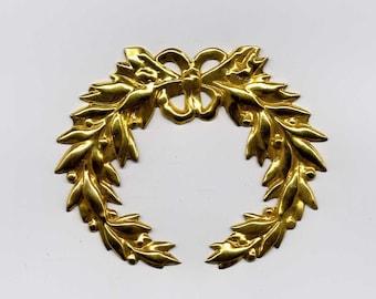 4 Laurel Wreath Brass Metal Stampings