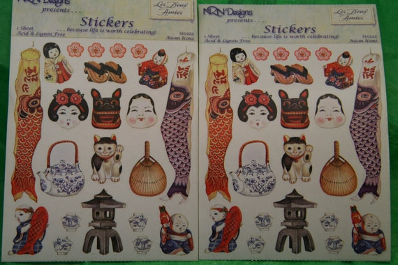 Asian inspired Sticker Sheets FREE SHIP