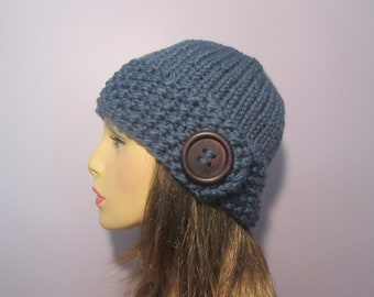 Denim Blue or Pick Your Color Knit Hat with Wood Button