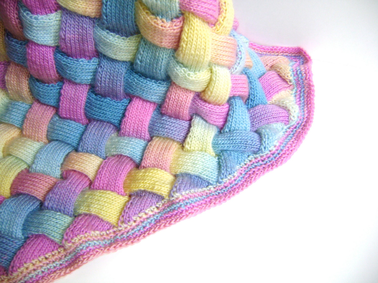 Hand Knit Rainbow Blanket Luxury Heirloom Gift For Baby