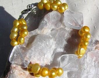 "Crystal Gemstone Bracelet, Yellow Freshwater Pearl & Clear Quartz  ""Buttercup"", Quartz Bracelet, Chakra Bracelet, Yellow Bracelet"