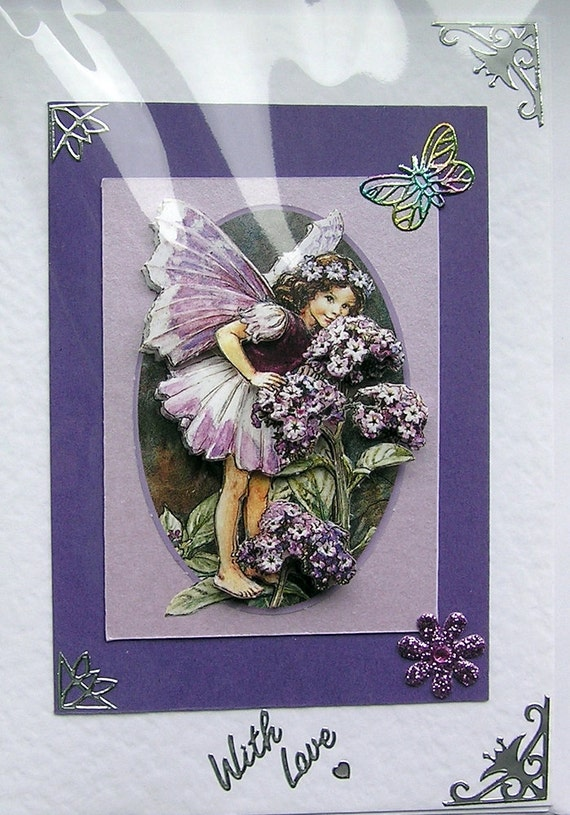 Heliotrope Fairy Hand-Crafted 3D Decoupage Card - With Love (1484)