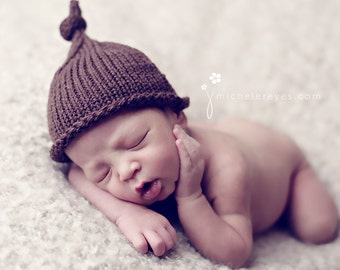 Knit Baby Knot Hat, Newborn, Hand Knitted Infant Cap, Chocolate Brown Wool Tie Hat, Custom Colors,Luxury Yarn, OOAK Photo Prop