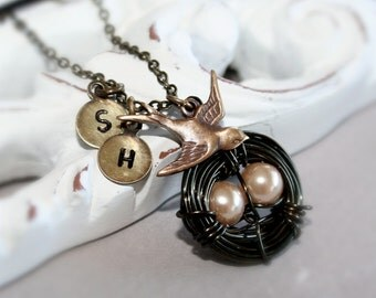 Bird Nest Necklace, Two Initials, Champagne Eggs with Bird and Nest,Great Gift