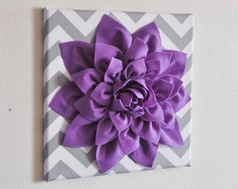 "Wall Decor -Lavender Dahlia on Gray and White Chevron 12 x12"" Canvas Wall Art- Baby Nursery Wall Decor-"