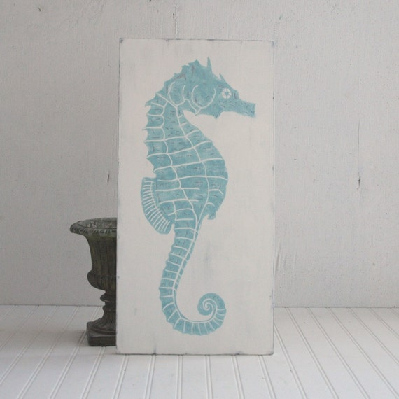 Beach Cottage Decor Art Wood Seahorse Sign Vintage Style Blue White