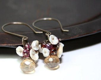 Dangle Earrings Wire Wrapped Cluster Champagne Quartz Tundra Sapphire Keishi Pearl Oxidized Sterling Silver OOAK Handmade Gift Bridal