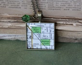 vintage 1980s san francisco map necklace // grandma's peridot crystal // north beach necklace