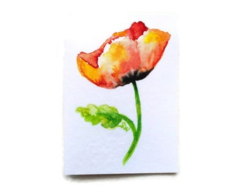 Poppy Watercolor ACEO Fine Art Print