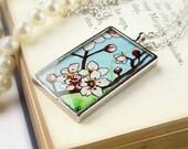 Japanese Cherry Blossoms-- Floral Art Pendant Necklace, Botanical Watercolor Print