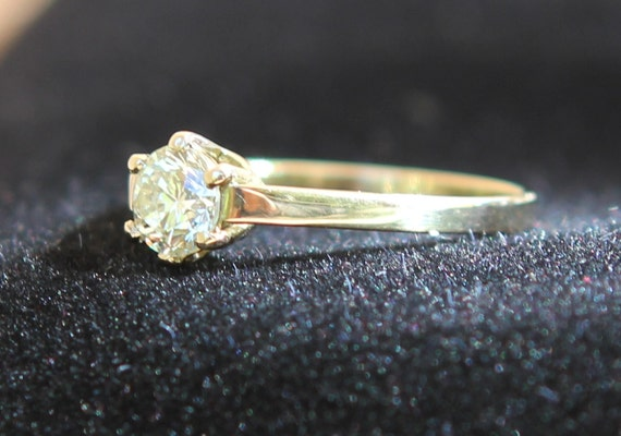 Certified Natural .57ct Fancy Yellow Diamond Solitaire Set In 14K Gold SZ 6.5