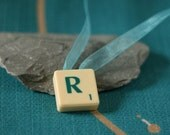 "Scrabble tile pendant necklace ""R"" on turquoise organza ribbon"