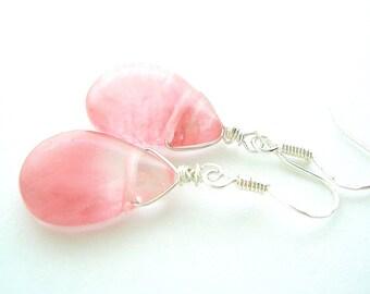 Dark Pink Earring - Watermelon Pink Quartz Earring - Silver Wire Wrap Earrings - Gifts under 30