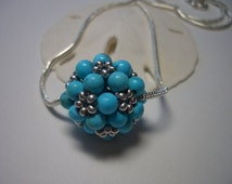 Turquoise and silver pendant, handmade on a silver necklace, pendant, turquoise beads, silver beads, 4mm turquoise beads, seed beads