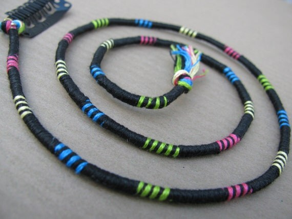 Trance - Black Hair Wrap Extension Atebas Dread Fall with neon swirls