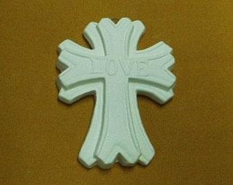 3 inch tall  LOVE  cross  ceramic bisque  4 U 2  paint
