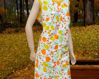 Vintage House Dress, Orange and Yellow Tulip Print, Komar, Large