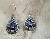 Vintage Ornate Teardrop Sterling Silver Amethyst Earrings
