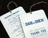 RESERVED for Abbi - Welcome / Itinerary Hang Tag - Out of Town Guest -Wedding Welcome Bags - 4.5 x 7 Custom Colors - Set of 9