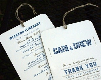 Welcome / Itinerary Hang Tag - Out of Town Guest  /  Destination Wedding Welcome Bags - 4.5 x 7 - Ivory Cardstock - Custom Colors Available