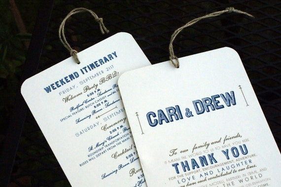 Gifts For Out Of Town Wedding Guests: Welcome / Itinerary Hang Tag Out Of Town Guest