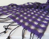 Bright Purple Scarf Amethyst & Jet Black Lightweight Lattice Womens Fashion Accessory Artisan Handwoven Natural Cotton with Stone Beads