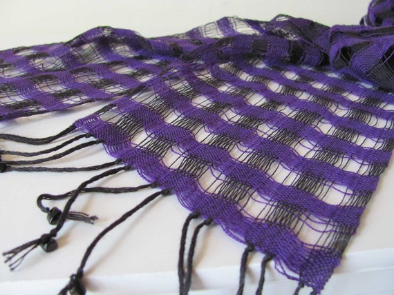 Summer Fashion Scarf, Boho Bright Amethyst Purple & Black Lightweight Lattice Scarf, Artisan Handwoven Natural Cotton Scarf, Jet Stone Beads