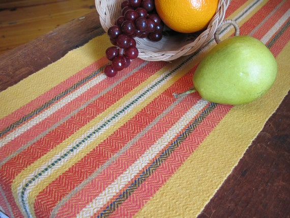Fiesta Table Runner, Rustic Southwest Desert Decor, Country Cottage Decor, Farmhouse Decor, Hand Woven Yellow Fire Red Coral Stripe Cotton