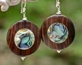 Wood Earrings , Abalone Earrings , Summer Jewelry , Large Earrings , Natural Earrings , Organic Earrings , Hipster Earrings , Amy FIne