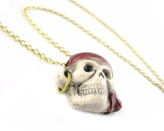 Gold Pirate Necklace - Pirate Skull Jewelry Unique Skull Necklace