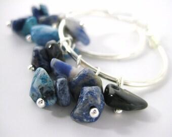 Womens Blue Earrings - Sodalite Jewelry - Hypoallergenic Hoop Earrings - Bright Royal Blue Jewelry Earrings - Womens Gemstone Gift For Her