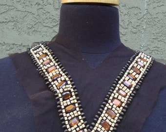 Neckline Applique Embellishment Necklace Beaded Wood Wooden Beads on Black Tulle Multicolor Beads Diamond Octagon Shape Amber Color 401