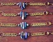 Titanium Quartz Bracelet, Quartz Crystal Bracelet, Chain Bracelet