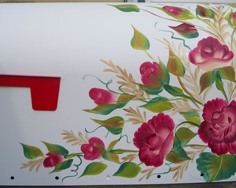Hand Painted Curbside MAILBOX Roses and ferns, Large or Standard mailbox, black, white, green or cream mailbox, UV Resistant
