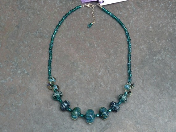 Reduced NOW 50% OFF - Turquoise Japanese Glass Seed Bead and Boro Glass Necklace with Swarovski Crystals and Sterling Silver Clasp BN366