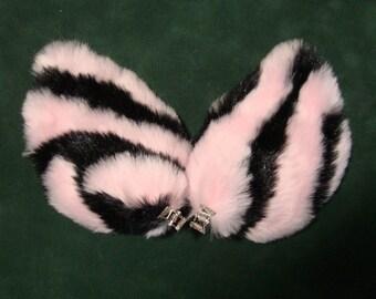 Pink and Black Tiger Cat Zebra Stripe Fur Ears Costume Halloween Cosplay