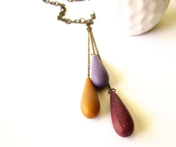 Pendant Necklace, Long, Purple, Mustard Yellow, Plum, Vintage Teardrop Beads, Antiqued Brass Jewelry, Autumn Jewellery, Mod