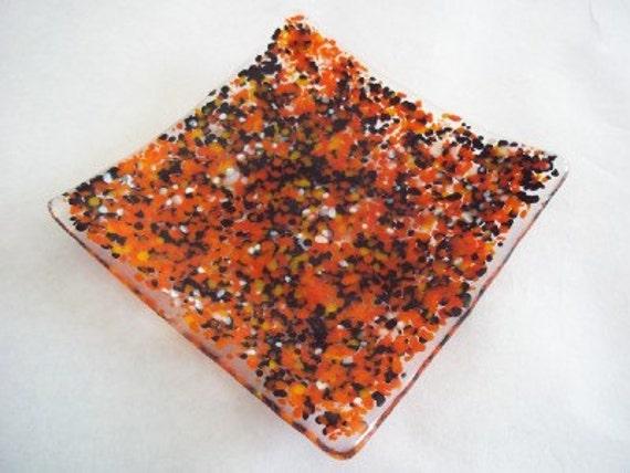 Autumn Colors Halloween Fused Glass Dish/Soap Dish