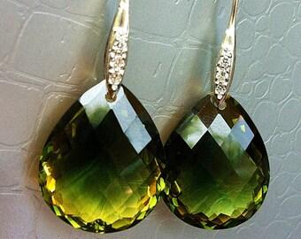 Luxury Green Yellow Ametrine Stone Pave Sterling Earrings
