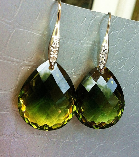 Luxury Green Yellow Ametrine Stone Pave Sterling Earrings