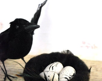 Halloween Wedding - Wool Nest and White Wood Eggs - Wool Felt - Halloween Decoration