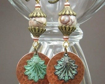 Brass and Copper / Picasso Jasper / Verdigris Charms / Dangle Drop Earrings - JaSPeR CoPPeR SHeLLs