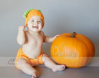 Infant toddler  orange pumpkin beanie and diaper cover set 6 months or any size. Ready to ship from Colorado. Perfect Photo Prop