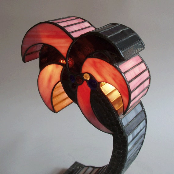 palm tree - one of a kind stained glass light sculpture