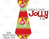 1 Little Guy Jolly Tie Ornaments and Stripes Printable Iron On Tie Decal, baby tie, boy Christmas Iron on tie for onesies shirts