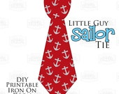 Instant Download 1 Printable Nautical Sailor Tie Red Anchors Printable Iron On Tie Decal, baby tie, boy tie for bodysuits shirts