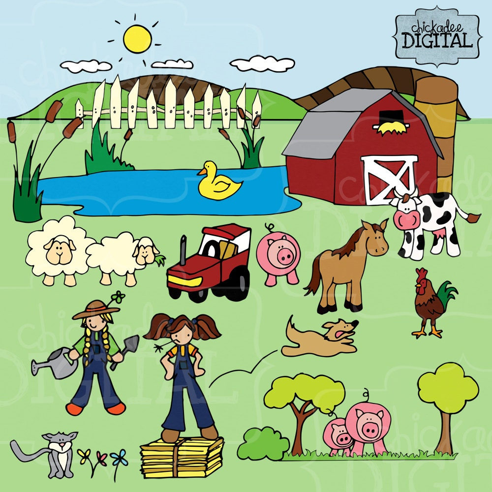 Farm Clipart Farmer Cow Horse Pigs and Sheep Clip art