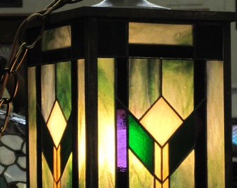 Craftsman Style Stained Glass Lantern