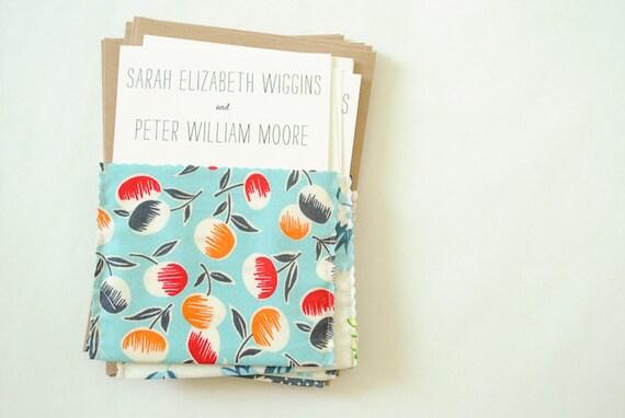 Fabric Wedding Invitations: Items Similar To Fabric Pocket Wedding Invitation : No. 29