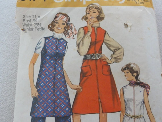 1970 Dress, Jumper & Pants - Vintage Simplicity Sewing Pattern 9174- Bust 34